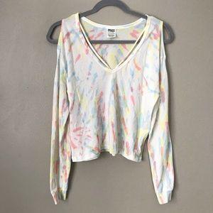VS Pink cold shouder pastel tie die strappy blouse